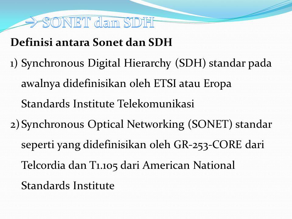 SONET dan SDH, yang pada dasarnya adalah sama, pada awalnya dirancang untuk mengangkut modus komunikasi rangkaian dari berbagai sumber yang berbeda.