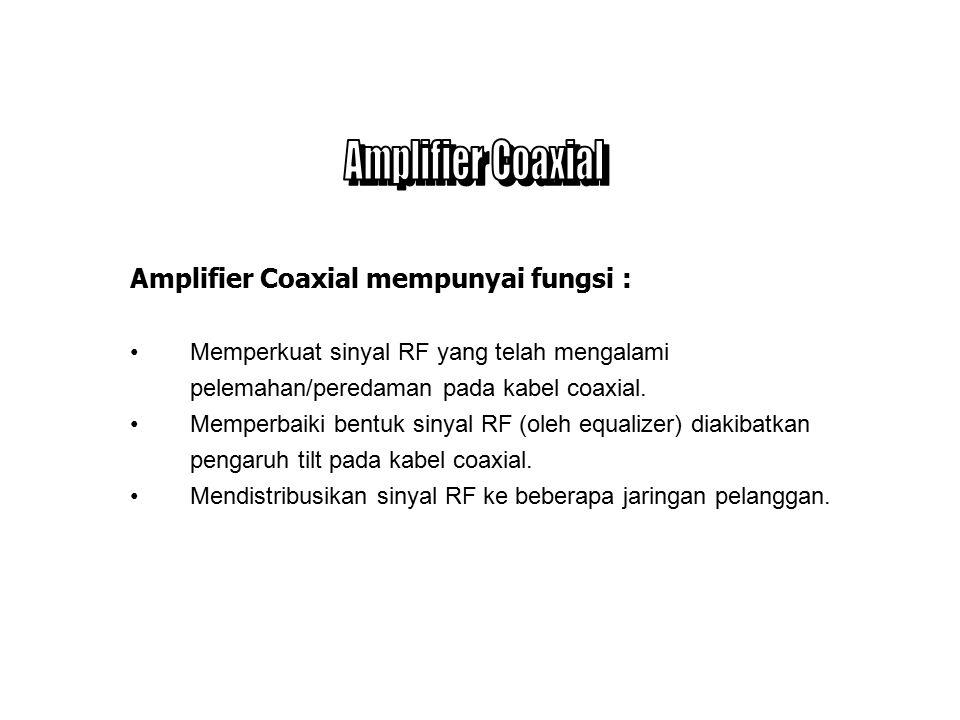Perangkat RF pada jaringan distribusi Coaxial terdiri dari : Perangkat RF aktif - Amplifier n Perangkat RF pasif - Power Inserter/Extractor - Splitter/ Combiner - Directional Coupler - Tap - Terminator