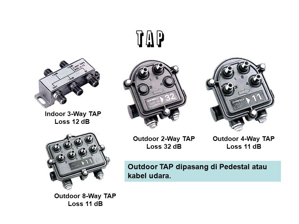 Pada jaringan coaxial TAP dipasang secara serial pada tiang atau pedestal.