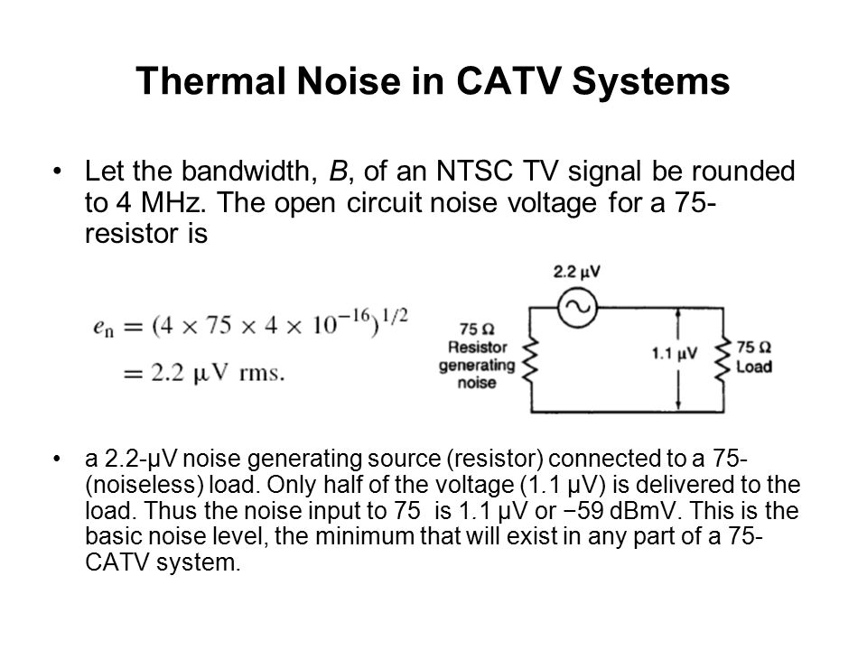 Thermal Noise in CATV Systems To calculate the noise voltage, en, use the following formula: