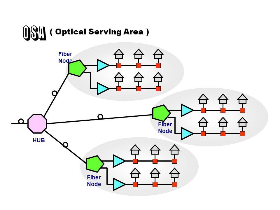 Jaringan Coaxial aktif 100 - 500 pelanggan Radius 100 - 500 m ( Fiber to the Serving Area ) Fiber Node