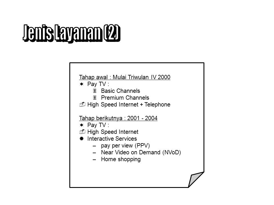 Tahap awal : Mulai Triwulan IV 2000 ¬Pay TV : 3Basic Channels 3Premium Channels High Speed Internet + Telephone Tahap berikutnya : 2001 - 2004 ¬Pay TV : High Speed Internet ®Interactive Services –pay per view (PPV) –Near Video on Demand (NVoD) –Home shopping