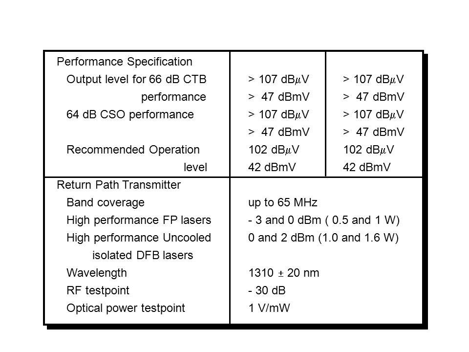 Contoh Spesiifikasi Fiber Node Type FOX236/336 Node C-Cor Forward Path Receiver Fiber type Nominal Optical input Power Level Range Wavelength Forward RF Specification RF coverage Impedance Testpoints CNR at 0 dBm optical input Power consumption Single mode 0 dBm - 3 to + 2 dBm @ 47 dBmV output 1280 nm to 1600 nm 47/54/70/85 to 862 MHz 75 ohm - 20 dB > 56 dB 50 W