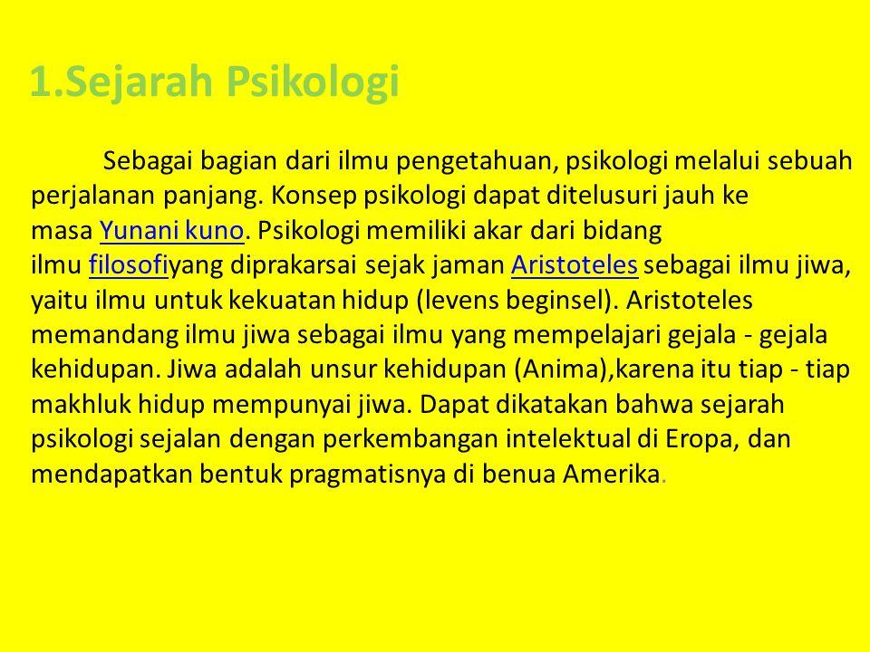 1.Sejarah Psikologi Sebagai bagian dari ilmu pengetahuan, psikologi melalui sebuah perjalanan panjang.