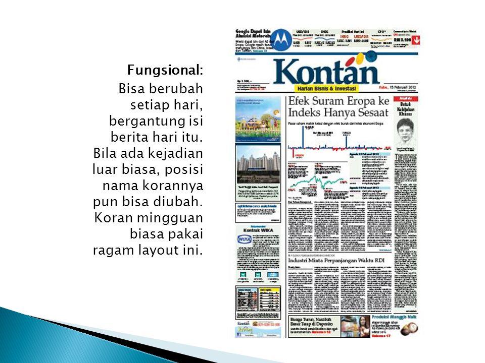 Fungsional: Bisa berubah setiap hari, bergantung isi berita hari itu. Bila ada kejadian luar biasa, posisi nama korannya pun bisa diubah. Koran minggu