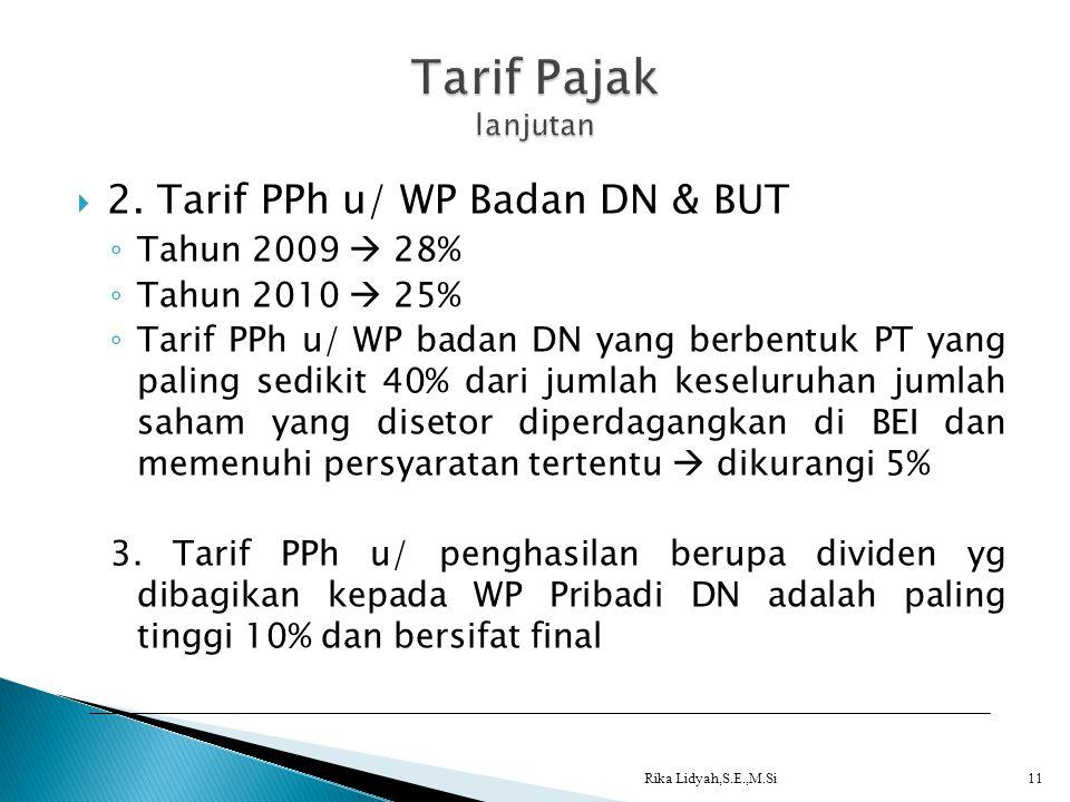  2. Tarif PPh u/ WP Badan DN & BUT ◦ Tahun 2009  28% ◦ Tahun 2010  25% ◦ Tarif PPh u/ WP badan DN yang berbentuk PT yang paling sedikit 40% dari ju