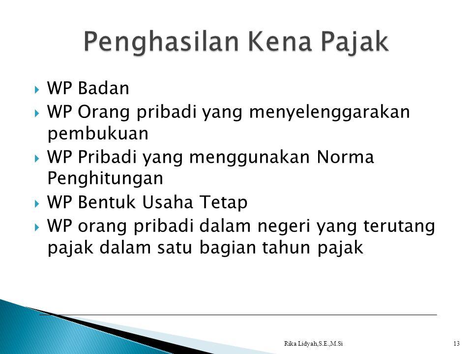  WP Badan  WP Orang pribadi yang menyelenggarakan pembukuan  WP Pribadi yang menggunakan Norma Penghitungan  WP Bentuk Usaha Tetap  WP orang prib