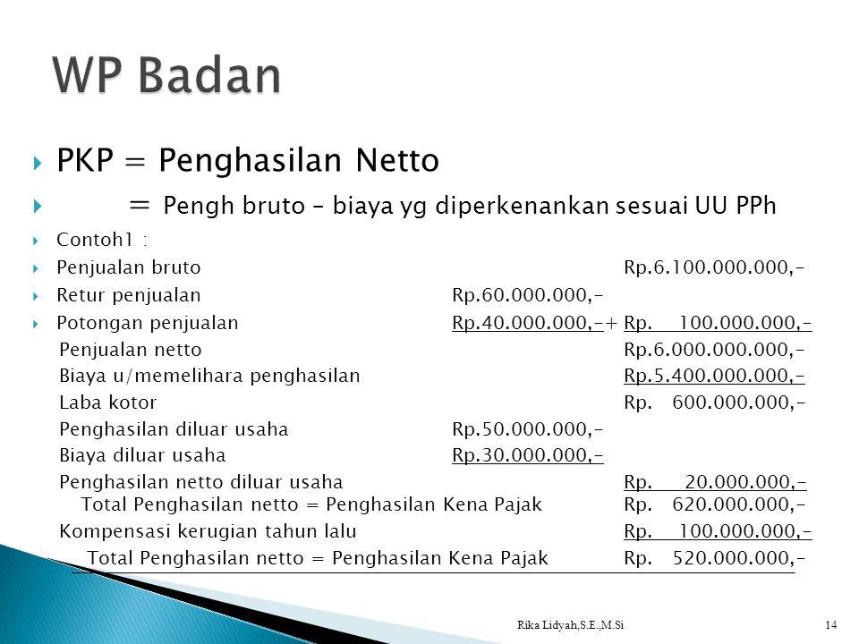  PKP = Penghasilan Netto  = Pengh bruto – biaya yg diperkenankan sesuai UU PPh  Contoh1 :  Penjualan brutoRp.6.100.000.000,-  Retur penjualanRp.6