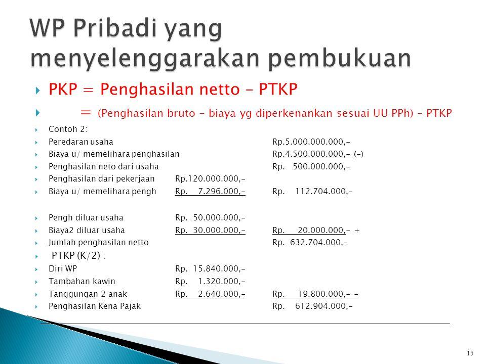  PKP = Penghasilan netto – PTKP  = (Penghasilan bruto - biaya yg diperkenankan sesuai UU PPh) – PTKP  Contoh 2:  Peredaran usahaRp.5.000.000.000,-