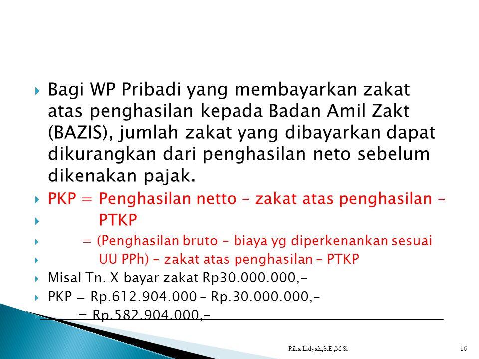  Bagi WP Pribadi yang membayarkan zakat atas penghasilan kepada Badan Amil Zakt (BAZIS), jumlah zakat yang dibayarkan dapat dikurangkan dari penghasi