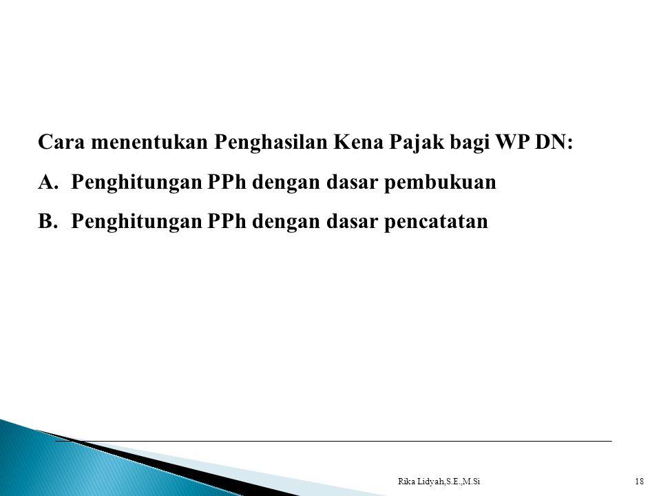 Rika Lidyah,S.E.,M.Si18 Cara menentukan Penghasilan Kena Pajak bagi WP DN: A.Penghitungan PPh dengan dasar pembukuan B.Penghitungan PPh dengan dasar p