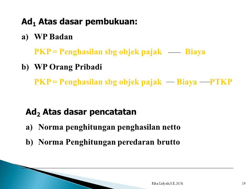Rika Lidyah,S.E.,M.Si19 Ad 1 Atas dasar pembukuan: a)WP Badan PKP = Penghasilan sbg objek pajak Biaya b)WP Orang Pribadi PKP = Penghasilan sbg objek p