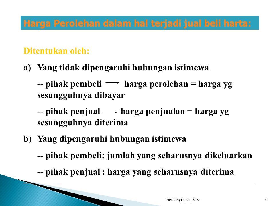 Rika Lidyah,S.E.,M.Si21 Harga Perolehan dalam hal terjadi jual beli harta: Ditentukan oleh: a)Yang tidak dipengaruhi hubungan istimewa -- pihak pembel