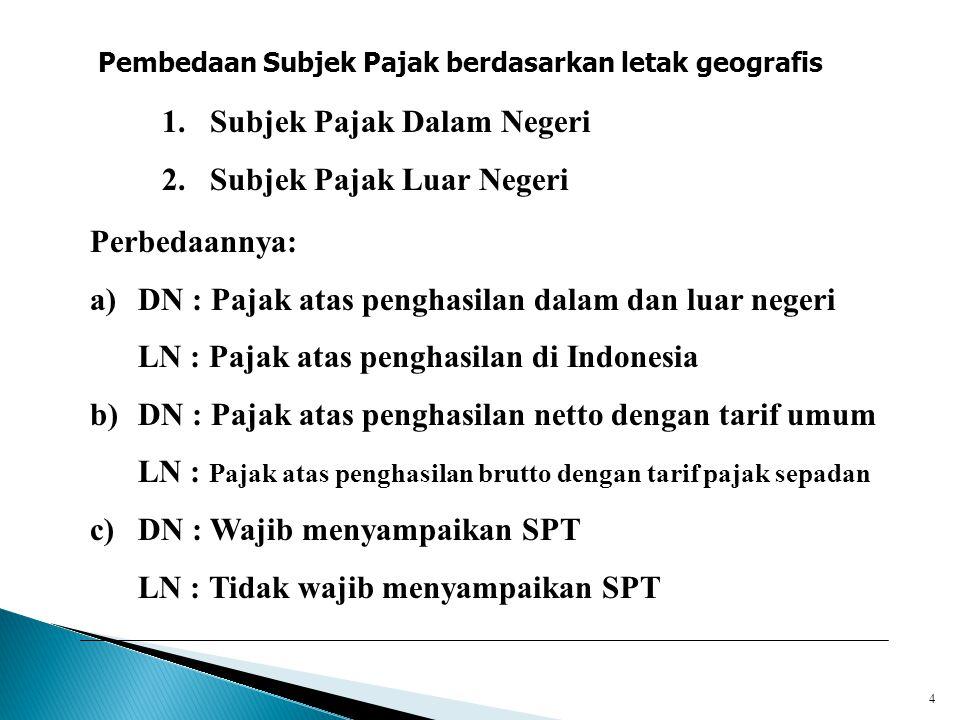 4 Pembedaan Subjek Pajak berdasarkan letak geografis 1.Subjek Pajak Dalam Negeri 2.Subjek Pajak Luar Negeri Perbedaannya: a)DN : Pajak atas penghasila