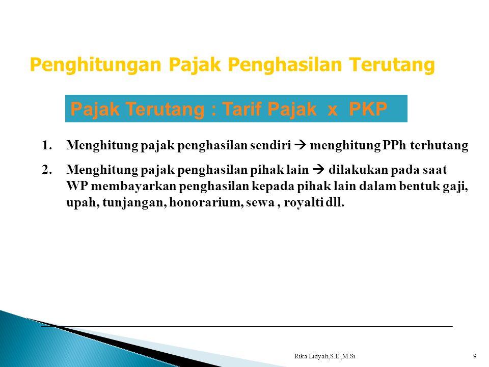 Rika Lidyah,S.E.,M.Si9 Penghitungan Pajak Penghasilan Terutang Pajak Terutang : Tarif Pajak x PKP 1.Menghitung pajak penghasilan sendiri  menghitung