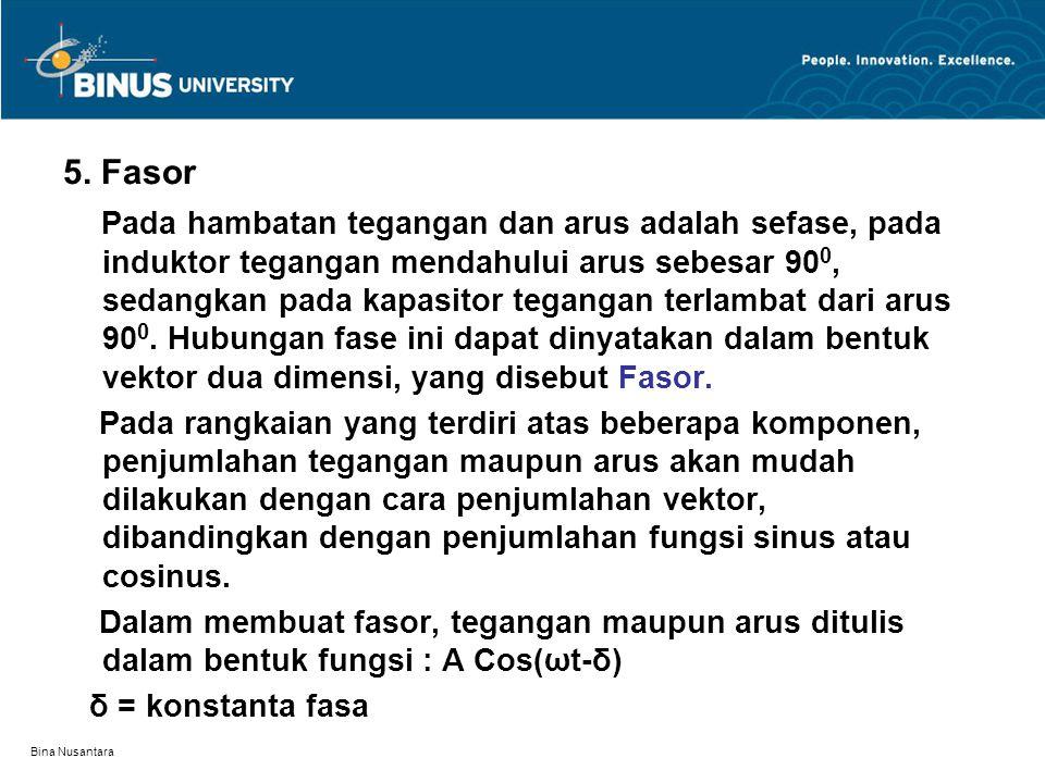 Bina Nusantara 5. Fasor Pada hambatan tegangan dan arus adalah sefase, pada induktor tegangan mendahului arus sebesar 90 0, sedangkan pada kapasitor t