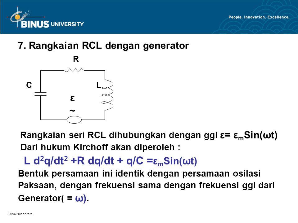 Bina Nusantara 7. Rangkaian RCL dengan generator R C L ε ~ Rangkaian seri RCL dihubungkan dengan ggl ε= ε m Sin(ωt) Dari hukum Kirchoff akan diperoleh
