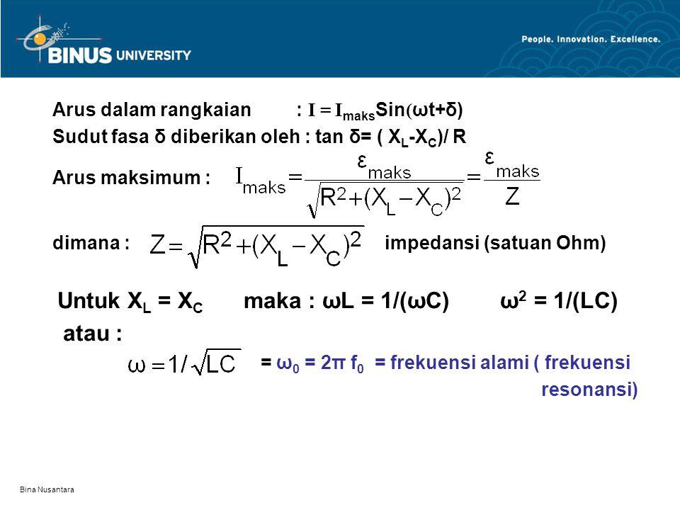 Bina Nusantara Arus dalam rangkaian : I = I maks Sin ( ωt+δ) Sudut fasa δ diberikan oleh : tan δ= ( X L -X C )/ R Arus maksimum : dimana : impedansi (