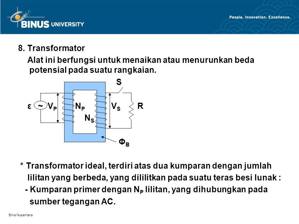 Bina Nusantara 8. Transformator Alat ini berfungsi untuk menaikan atau menurunkan beda potensial pada suatu rangkaian. S ε ~ V P N P V S R N S Φ B * T