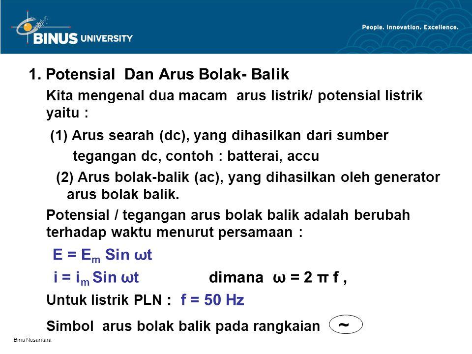 Bina Nusantara 1. Potensial Dan Arus Bolak- Balik Kita mengenal dua macam arus listrik/ potensial listrik yaitu : (1) Arus searah (dc), yang dihasilka