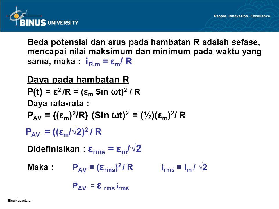 Bina Nusantara Beda potensial dan arus pada hambatan R adalah sefase, mencapai nilai maksimum dan minimum pada waktu yang sama, maka : i R,m = ε m / R