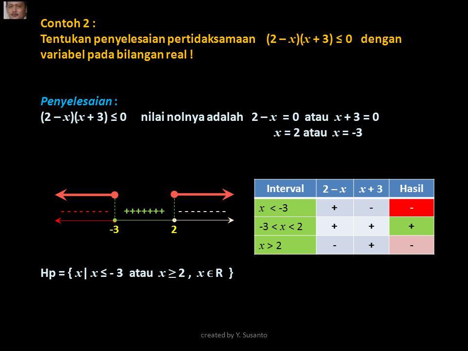 Contoh 2 : Tentukan penyelesaian pertidaksamaan (2 – x )( x + 3) ≤ 0 dengan variabel pada bilangan real ! Penyelesaian : (2 – x )( x + 3) ≤ 0 nilai no