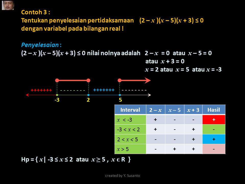 Contoh 3 : Tentukan penyelesaian pertidaksamaan (2 – x )( x – 5)( x + 3) ≤ 0 dengan variabel pada bilangan real ! Penyelesaian : (2 – x )( x – 5)( x +