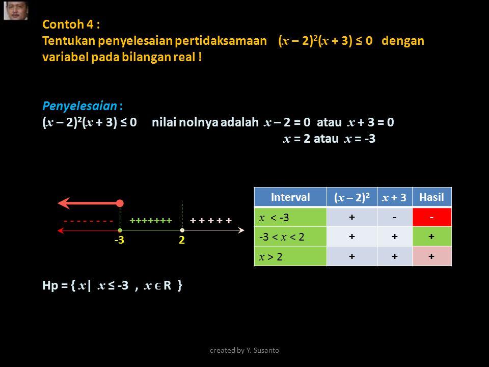 Contoh 4 : Tentukan penyelesaian pertidaksamaan ( x – 2) 2 ( x + 3) ≤ 0 dengan variabel pada bilangan real ! Penyelesaian : ( x – 2) 2 ( x + 3) ≤ 0 ni