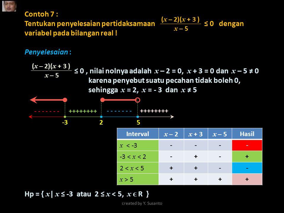 Contoh 7 : Tentukan penyelesaian pertidaksamaan ≤ 0 dengan variabel pada bilangan real ! Penyelesaian : ≤ 0, nilai nolnya adalah x – 2 = 0, x + 3 = 0