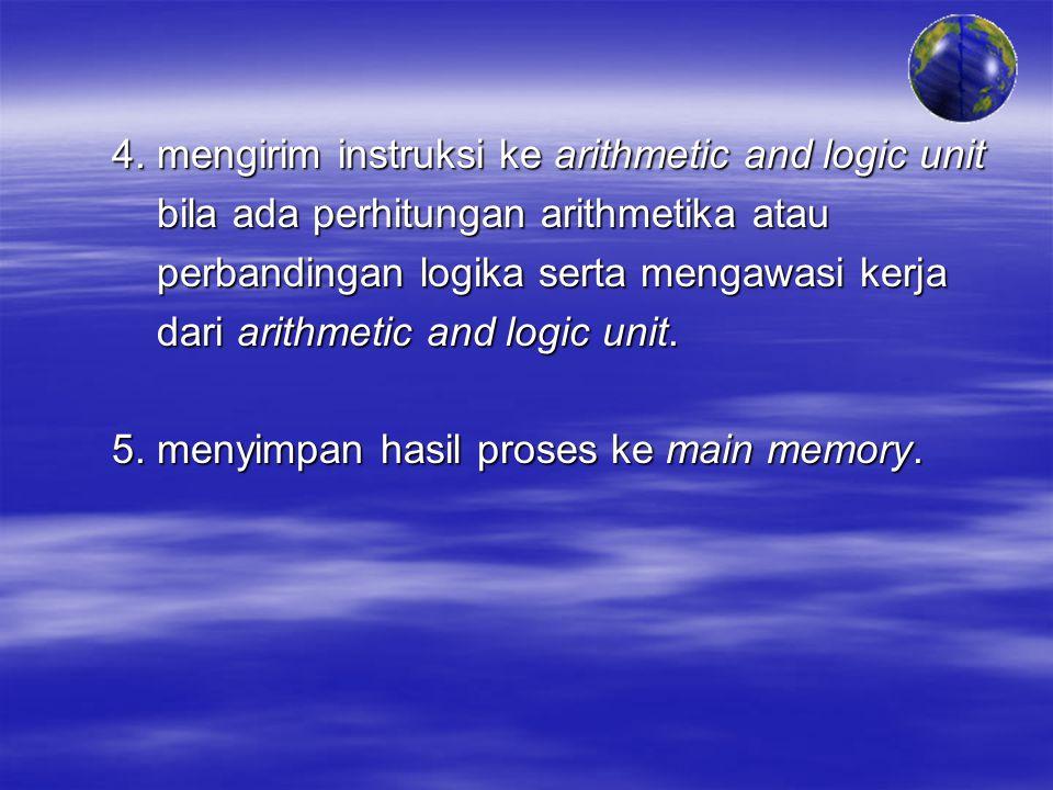 4. mengirim instruksi ke arithmetic and logic unit bila ada perhitungan arithmetika atau bila ada perhitungan arithmetika atau perbandingan logika ser