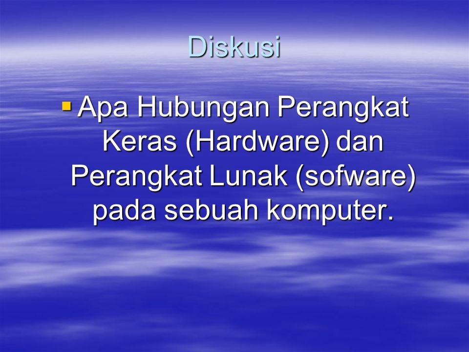 Diskusi  Apa Hubungan Perangkat Keras (Hardware) dan Perangkat Lunak (sofware) pada sebuah komputer.