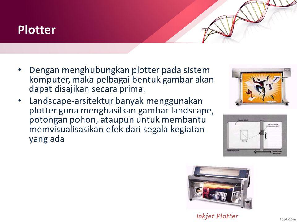 Plotter Dengan menghubungkan plotter pada sistem komputer, maka pelbagai bentuk gambar akan dapat disajikan secara prima. Landscape-arsitektur banyak