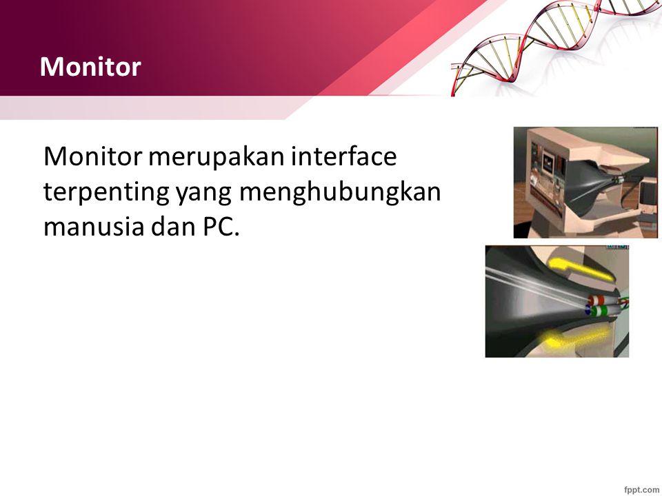 Monitor Monitor merupakan interface terpenting yang menghubungkan manusia dan PC.