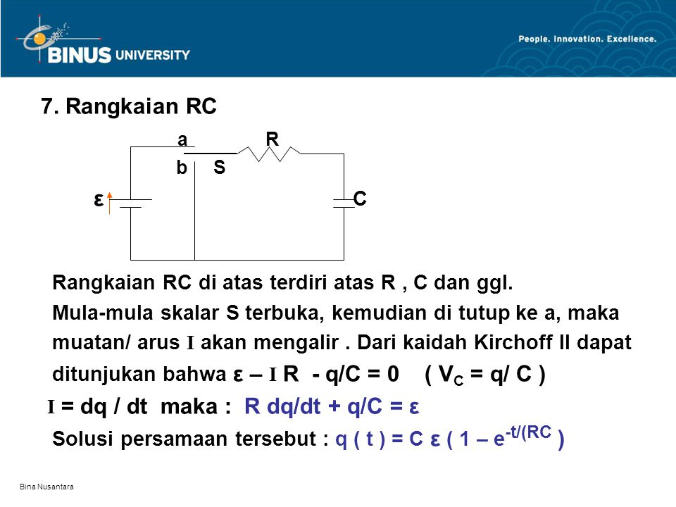 Bina Nusantara 7. Rangkaian RC a R b S ε C Rangkaian RC di atas terdiri atas R, C dan ggl. Mula-mula skalar S terbuka, kemudian di tutup ke a, maka mu
