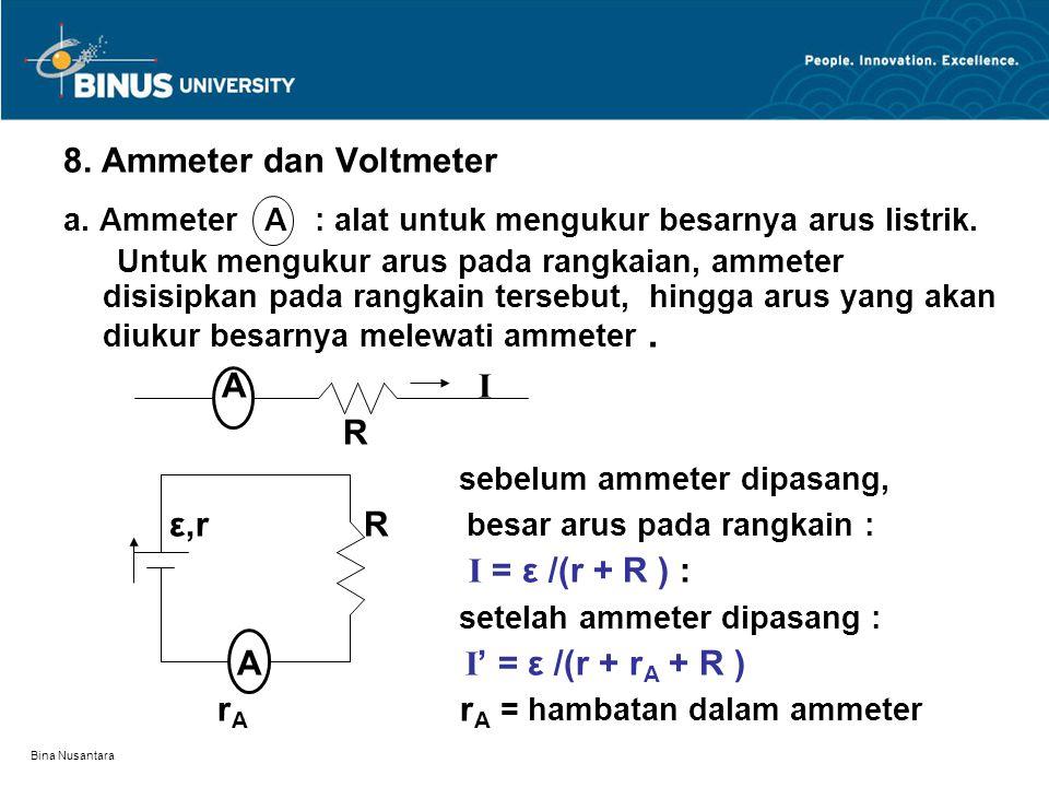 Bina Nusantara 8. Ammeter dan Voltmeter a. Ammeter A : alat untuk mengukur besarnya arus listrik. Untuk mengukur arus pada rangkaian, ammeter disisipk