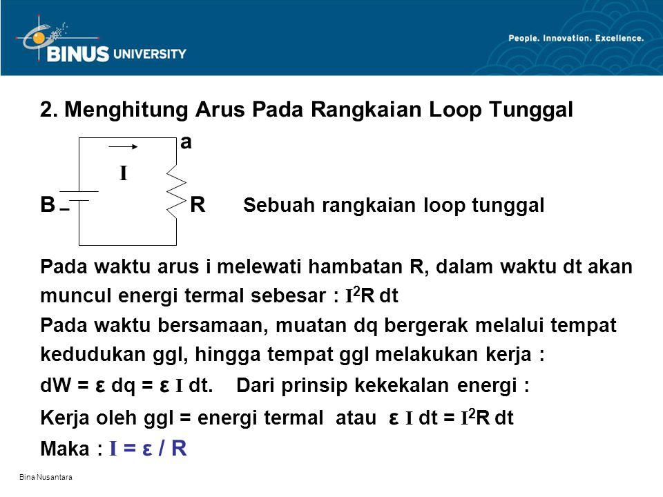 Bina Nusantara 2. Menghitung Arus Pada Rangkaian Loop Tunggal a I B R Sebuah rangkaian loop tunggal Pada waktu arus i melewati hambatan R, dalam waktu