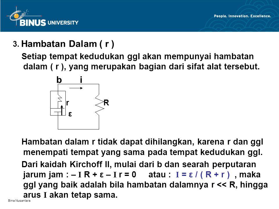 Bina Nusantara 3. Hambatan Dalam ( r ) Setiap tempat kedudukan ggl akan mempunyai hambatan dalam ( r ), yang merupakan bagian dari sifat alat tersebut