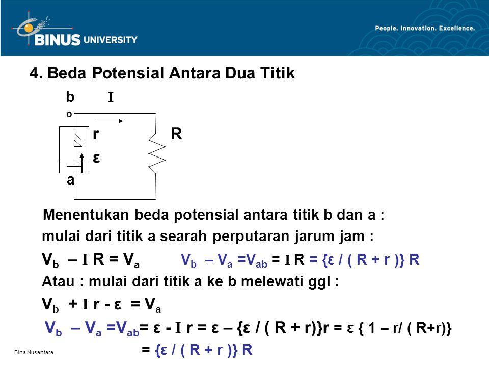Bina Nusantara 4. Beda Potensial Antara Dua Titik b I o r R ε a Menentukan beda potensial antara titik b dan a : mulai dari titik a searah perputaran