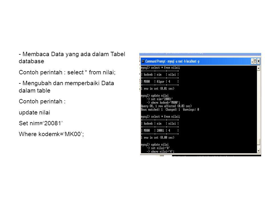 - Membaca Data yang ada dalam Tabel database Contoh perintah : select * from nilai; - Mengubah dan memperbaiki Data dalam table Contoh perintah : upda