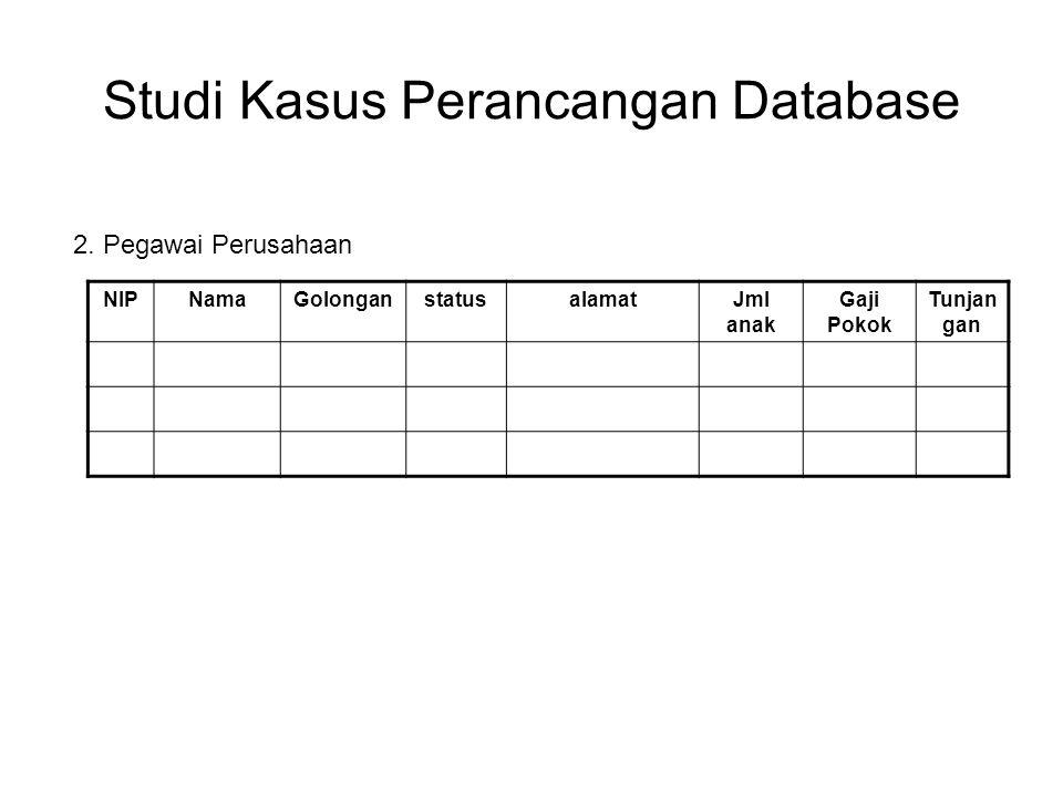 Studi Kasus Perancangan Database NIPNamaGolonganstatusalamatJml anak Gaji Pokok Tunjan gan 2. Pegawai Perusahaan