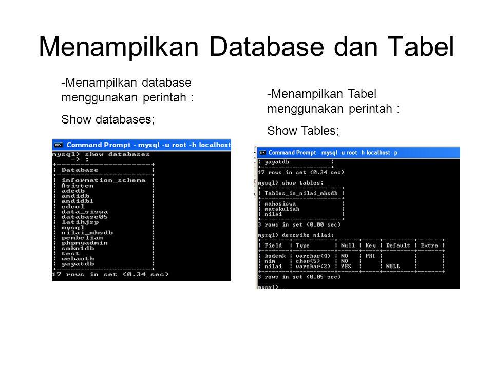 Menampilkan Database dan Tabel -Menampilkan database menggunakan perintah : Show databases; -Menampilkan Tabel menggunakan perintah : Show Tables;