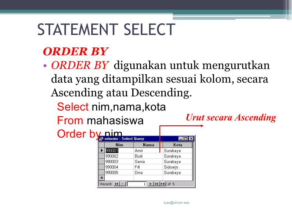 STATEMENT SELECT ORDER BY ORDER BY digunakan untuk mengurutkan data yang ditampilkan sesuai kolom, secara Ascending atau Descending. tyas@stikom.edu S