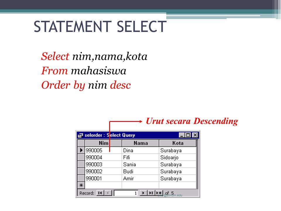 STATEMENT SELECT Select nim,nama,kota From mahasiswa Order by nim desc tyas@stikom.edu Urut secara Descending