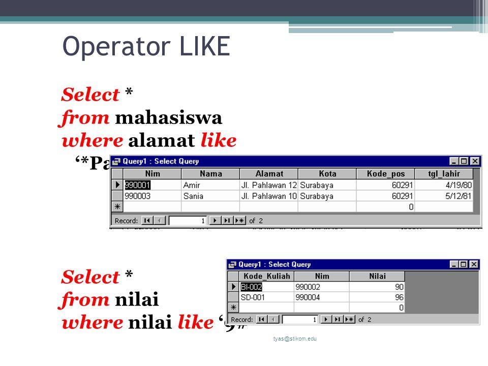 Operator LIKE Select * from mahasiswa where alamat like '*Pahlawan*' Select * from nilai where nilai like '9#' tyas@stikom.edu