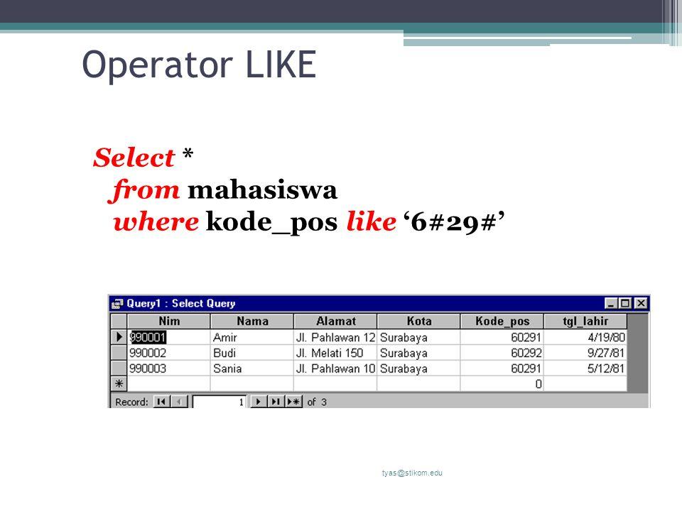 Operator LIKE Select * from mahasiswa where kode_pos like '6#29#' tyas@stikom.edu
