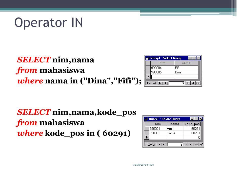 Operator IN SELECT nim,nama from mahasiswa where nama in (