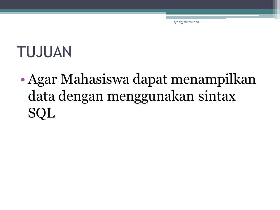 Operator LIKE Select * from mahasiswa where kota like 'sura*' Select * from mahasiswa where nama like '*ia' tyas@stikom.edu