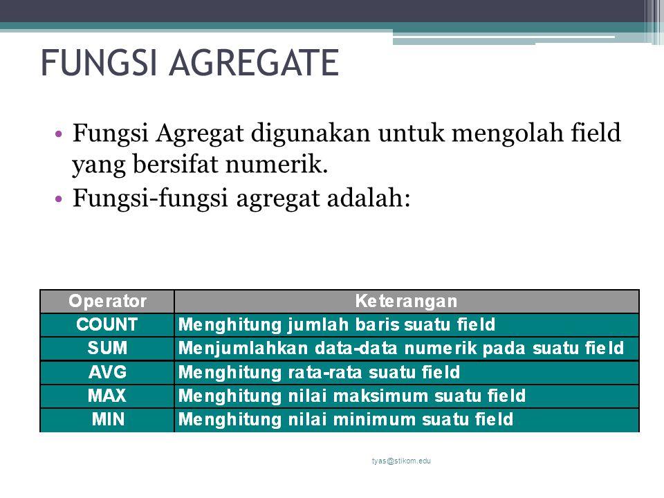 FUNGSI AGREGATE Fungsi Agregat digunakan untuk mengolah field yang bersifat numerik. Fungsi-fungsi agregat adalah: tyas@stikom.edu