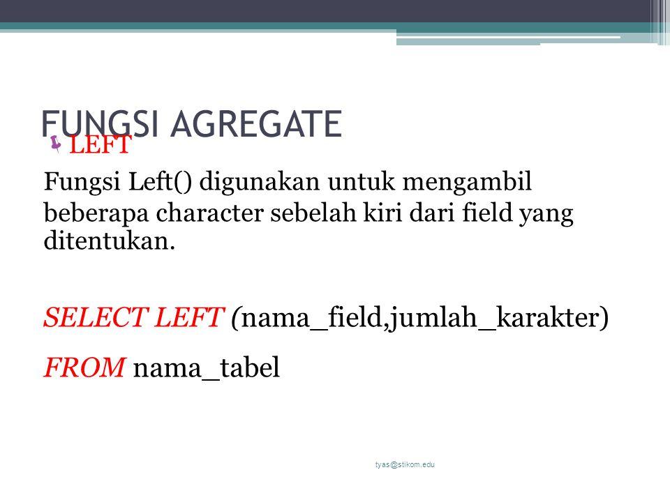 FUNGSI AGREGATE  LEFT Fungsi Left() digunakan untuk mengambil beberapa character sebelah kiri dari field yang ditentukan. SELECT LEFT (nama_field,jum
