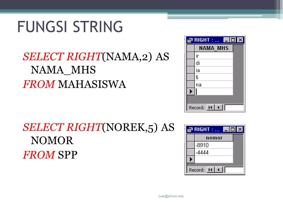FUNGSI STRING SELECT RIGHT(NAMA,2) AS NAMA_MHS FROM MAHASISWA SELECT RIGHT(NOREK,5) AS NOMOR FROM SPP tyas@stikom.edu